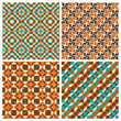 Set of seamless geometric retro patterns