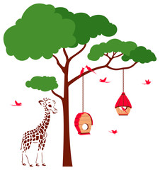 Bird House with Birds and Giraffe