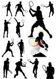 Big collection of tennis player silhouettes. Vector illustration