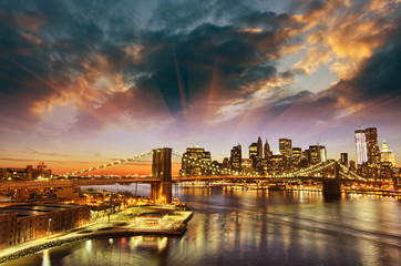 New York City - Manhattan skyline at winter sunset