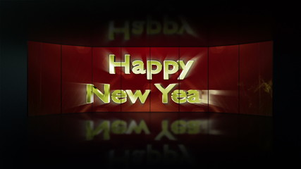 Happy New Year Text in Monitors, with Green Screen
