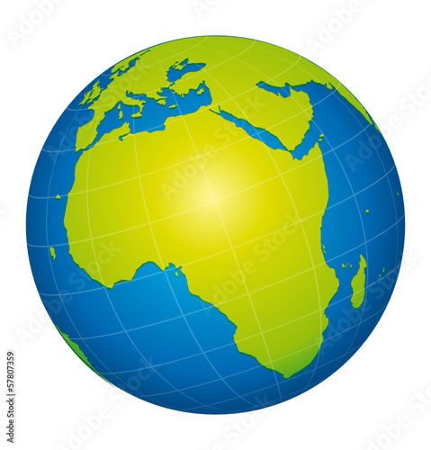 World globe icon. African view. Green concept.