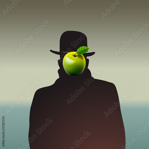 Silhouette of man with face obscure, vector Eps10 illustration.