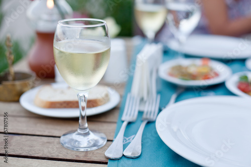 Glass of white wine.