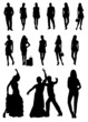 Black and white people silhouettes. Vector illustration