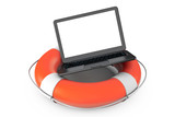 Electronic Service concept. Modern Laptop with Life Buoy