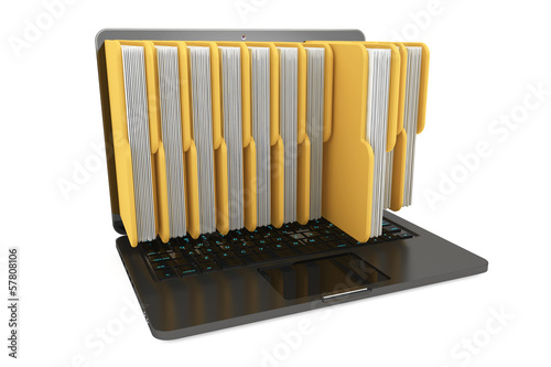 Laptop computer with folders