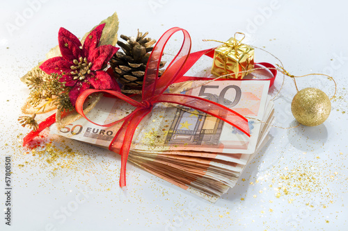 pack of euro for the Christmas gift with decorations