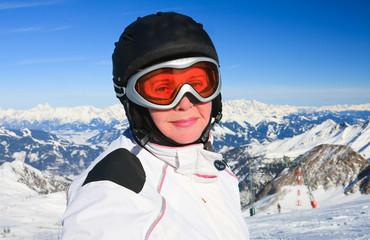 Portrait alpine skier. Ski resort of Kaprun,  Austria