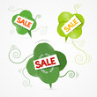Vector Sale title on green clover leaves