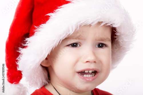 little sad santa portrait on white