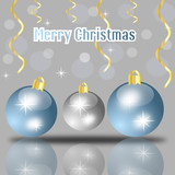 Merry christmas card with balls and decorations on grey