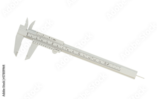 Plastic vernier caliper isolated on white background