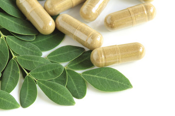 Moringa oleifera capsule with green fresh leaves on white backgr