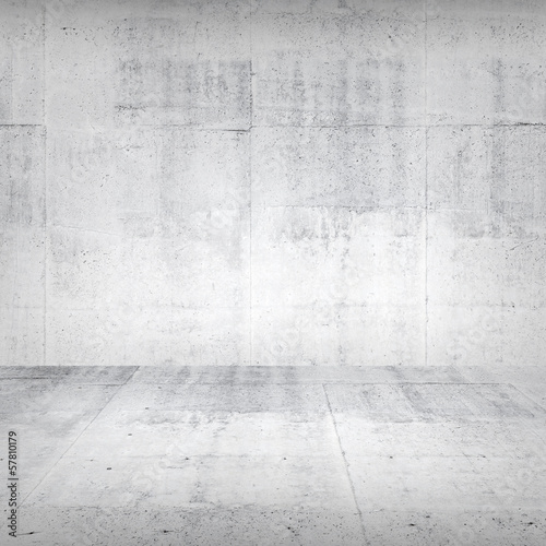 Abstract empty white interior with concrete wall and floor