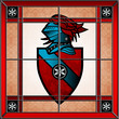 Stained glass coat of arms square window