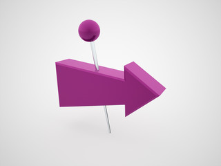 Purple push pins with arrows rendered