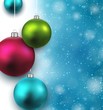 Blue background with christmas balls.