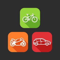 flat icons with private transport