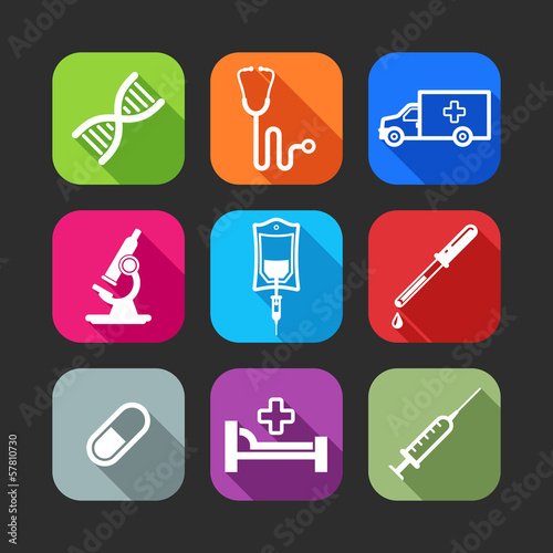 flat icons for web and mobile applications with medical items