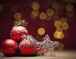 Christmas decoration with red bauble