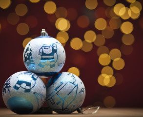 Christmas decoration with blue bauble