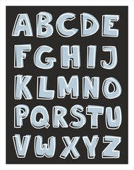 Alphabet letters hand drawn vector set isolated on black