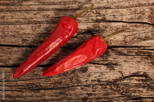 Two cayenne or red hot chilli peppers