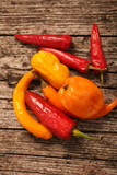 Variety of fresh peppers or capsicum