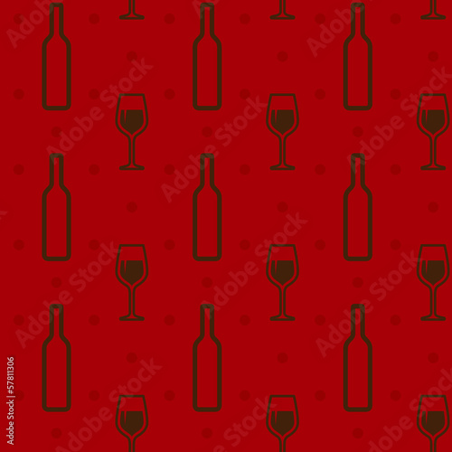 seamless background with wine bottles and wineglasses