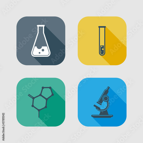icon set of science signs. flat design with long shadows