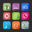 flat icons for web and mobile applications with musical items