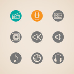 set of flat vector musical icons