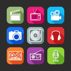 flat icons for web applications with creative industry items