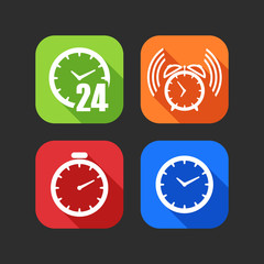 flat icons for web and mobile applications with clocks