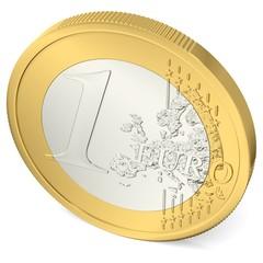 Ein Euro Münze von oben