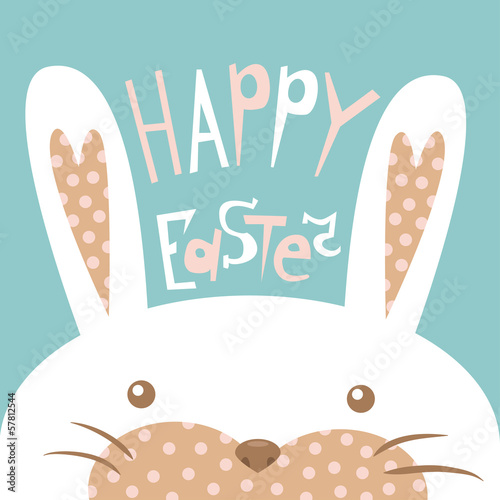 Card of Happy Easter with the head of a rabbit (vector)