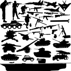 military objects collection -vector
