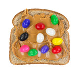 Jelly beans on peanut butter on bread