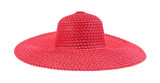 Ladies summer red straw hat
