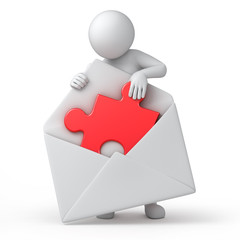 solution by mail, 3d human and a letter with a red puzzle