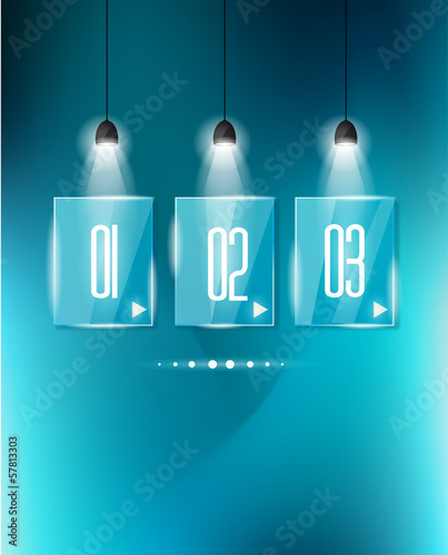 Infographic design template with glass surfaces.and spotlights.