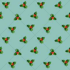 Holly berry with leaves.  Christmas seamless pattern. Vector