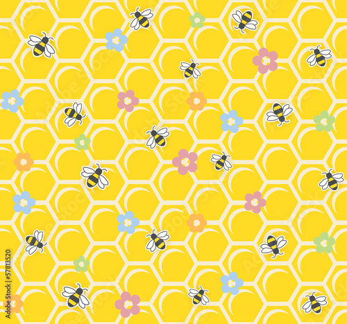 Bee on honeycomb. Seamless pattern. vector illustration EPS10.