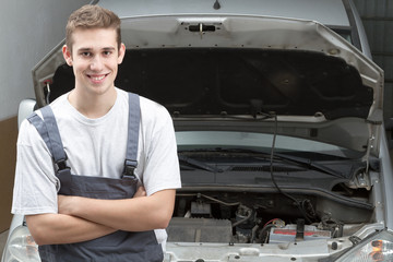 Mechanic smiling