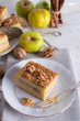 apple strudel with vanilla pudding and nuts