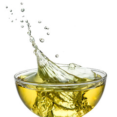 Ice tea. Splash in glass. Clipping path