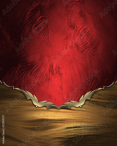 Red Background with yellow edges with gold trim.