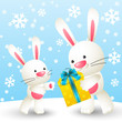 Cute white rabbits with gift