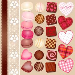 バレンタインのチョコとマカロン